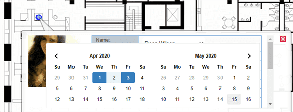 Hot desk booking on a floor plan